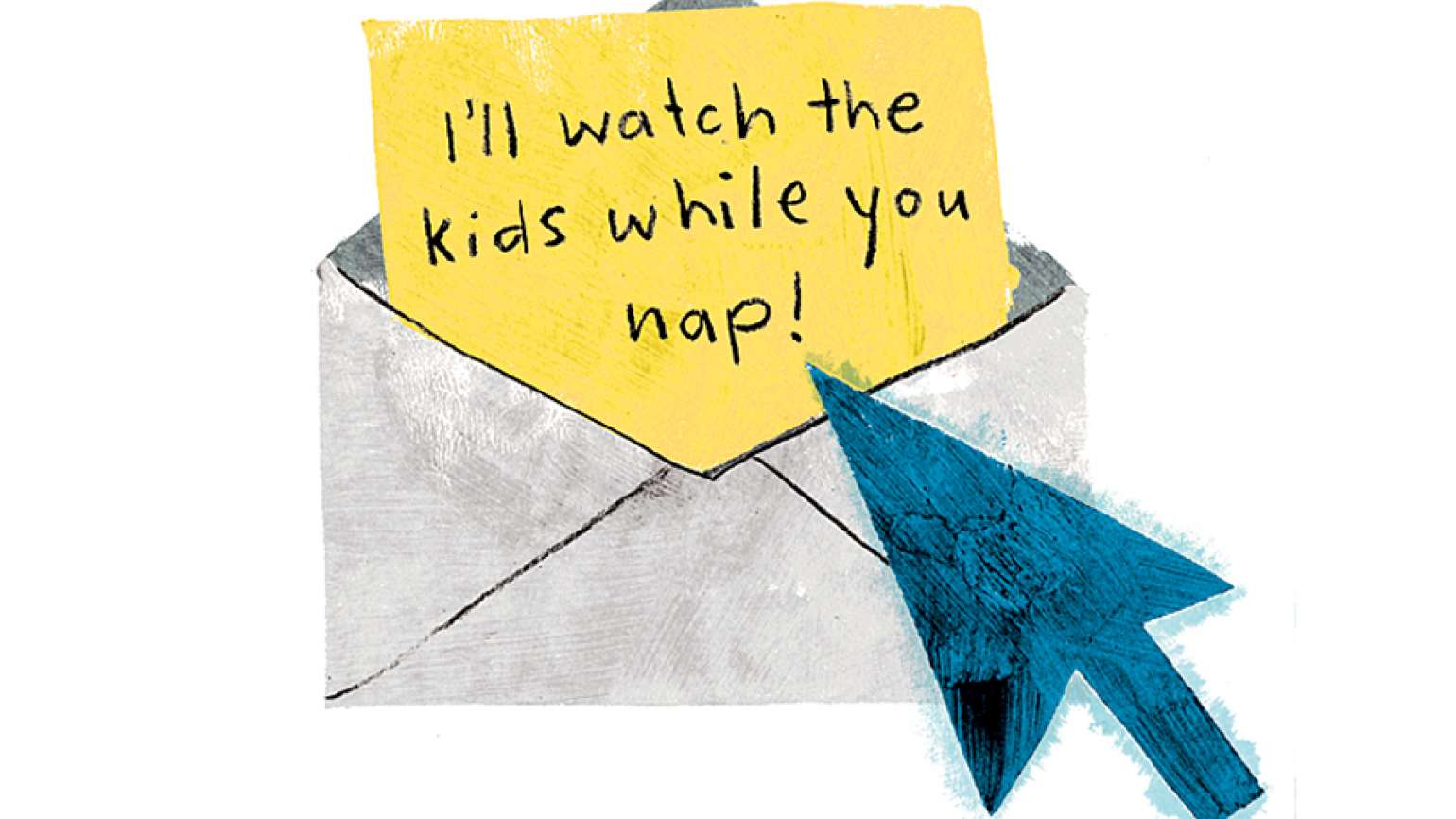 An artist's rendering of an envelope with a note in it