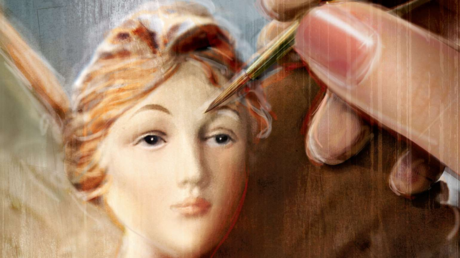 An artist's rendering of a hand painting an angel statue's face