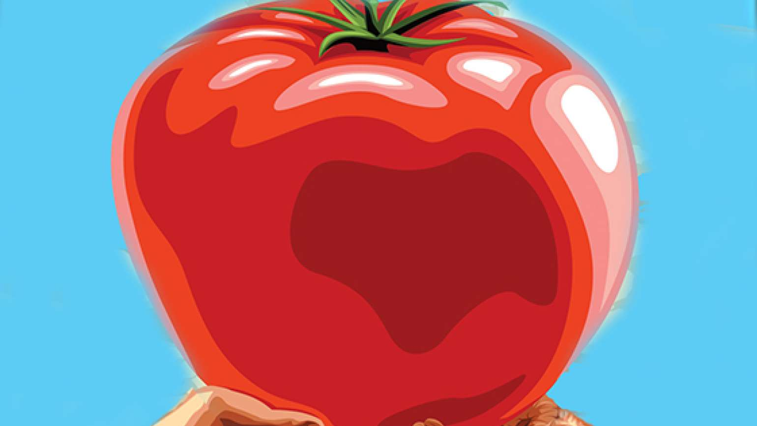 An artist's rendering of a giant tomato