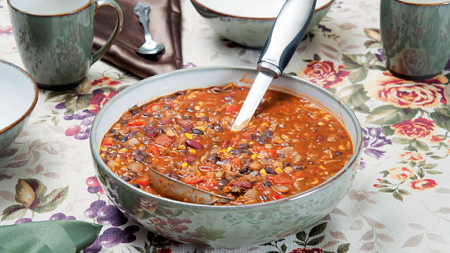 Guideposts: A large serving dish filled with vegetarian chili