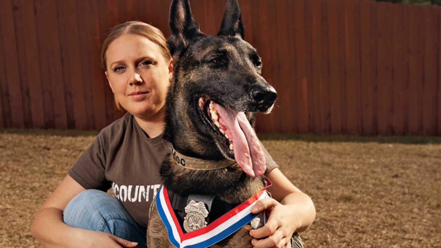 Guideposts: Sgt. Wells poses with Ddoc.