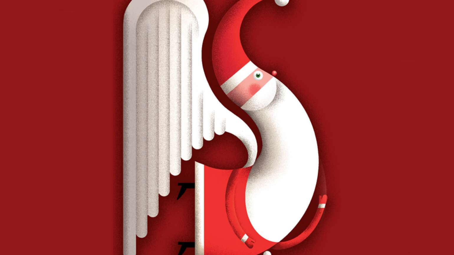 An artist's stylized rendering of Santa Claus with white angel wings