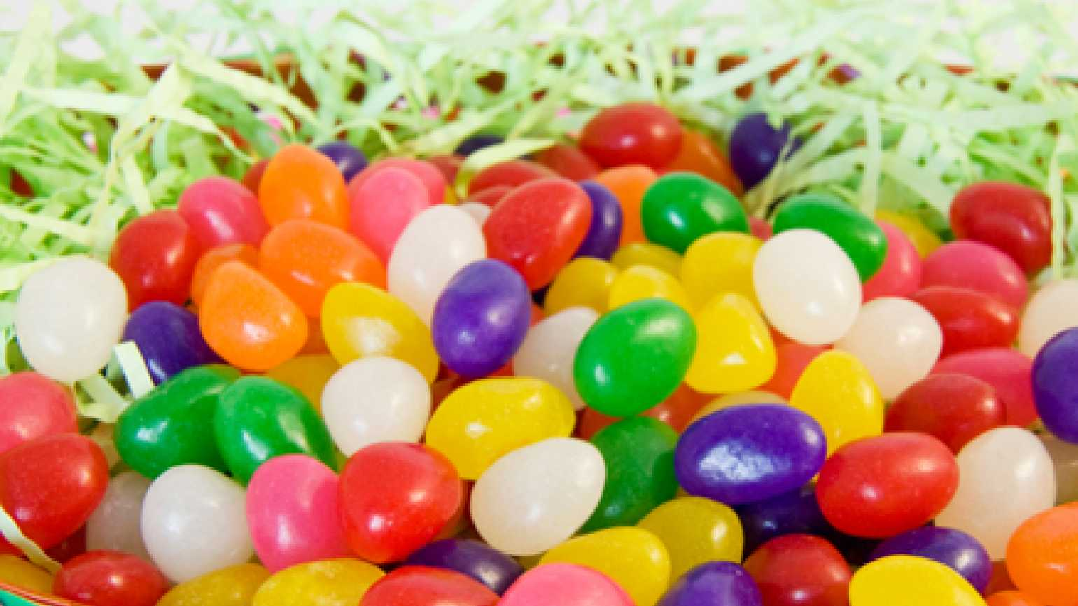 Jelly beans in an Easter basket