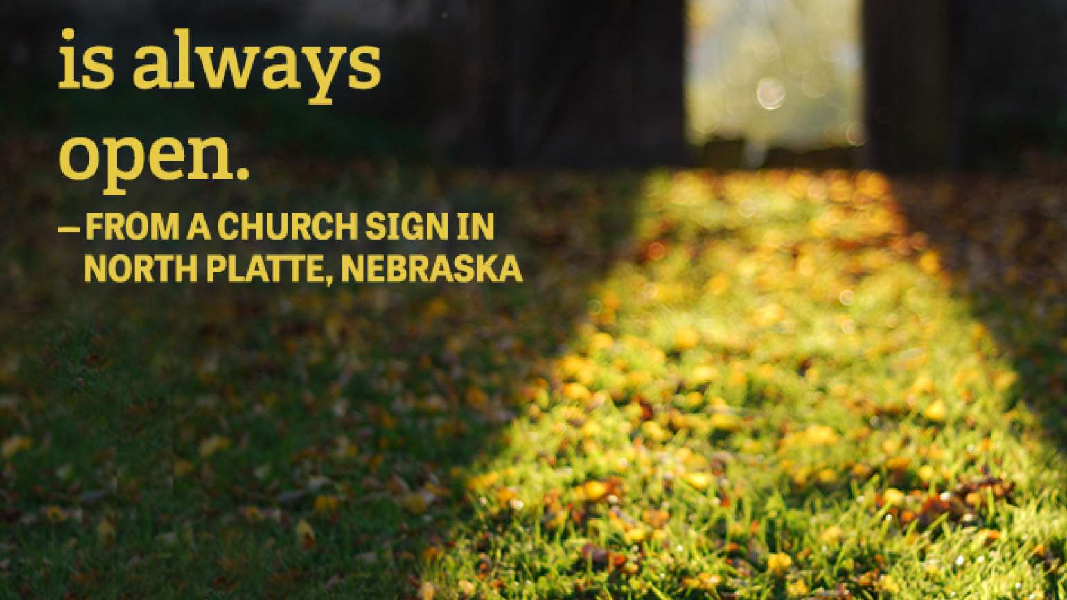 Happiness Quote on Church Sign in North Platte, Nebraska