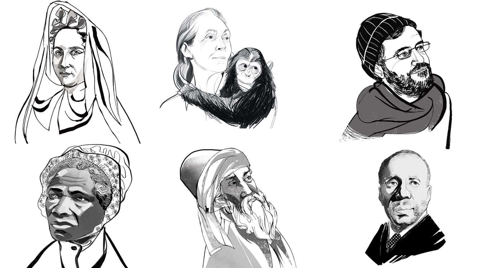 An artist's rendering of various mystics; Illustrations by John Jay Cabuay