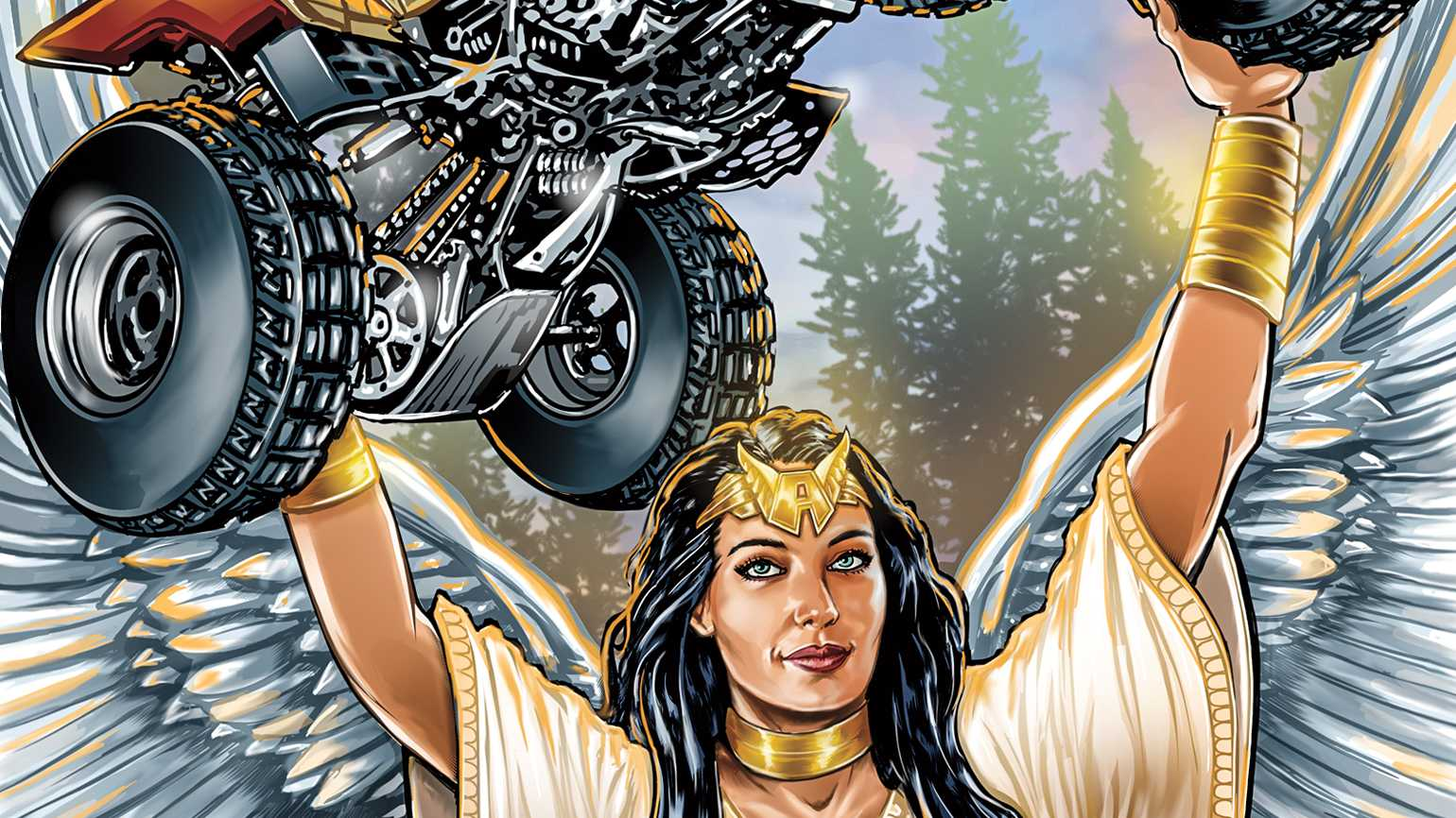 An angel holding a 4-wheeler above her head; Illustration by Kirk Manley