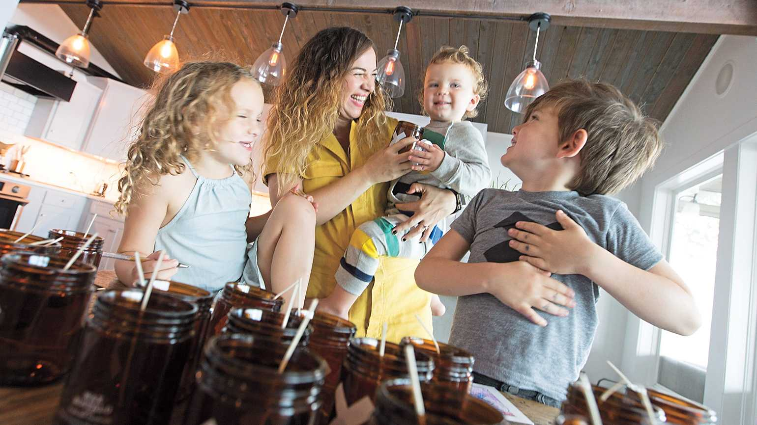 Wax Buffalo candle creator Alicia with her kids [from left]: Navy, Oxley and Satchel