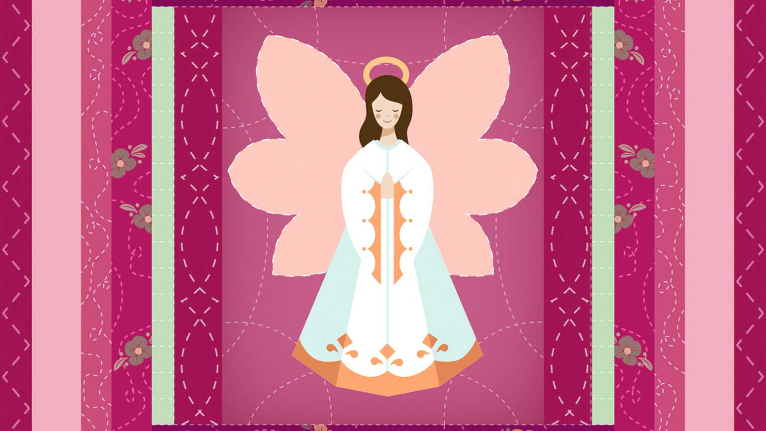 A colorful illustration of a patterned quilt with an angel sewn in the middle.