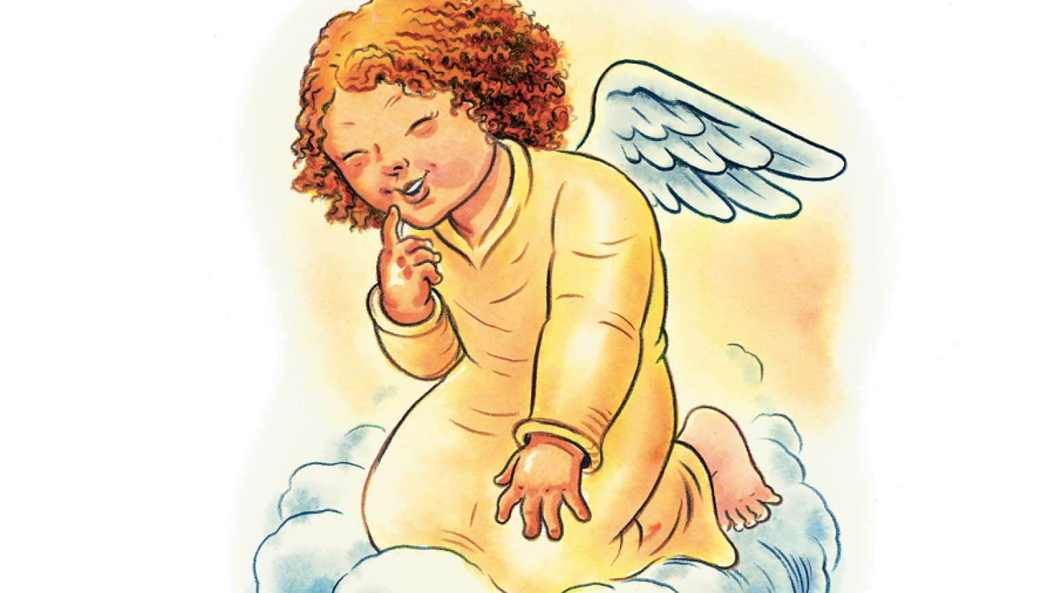 An artist's rendering of a red-haired cherub