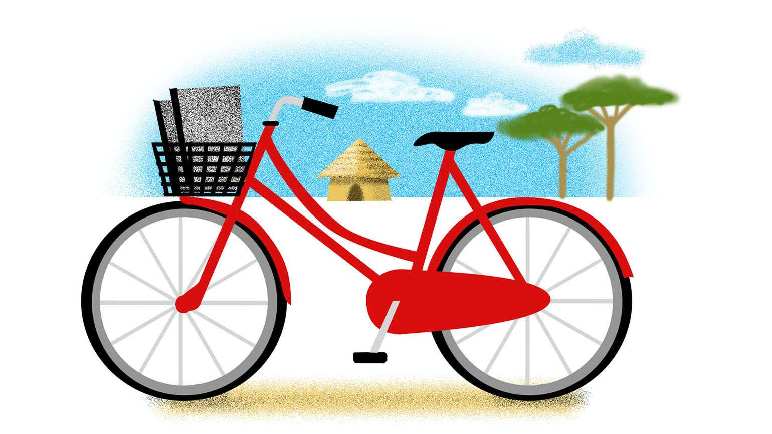 An artist's rendering of a red bicycle with school notebooks in the basket.