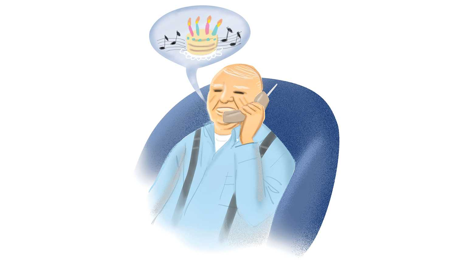 """An illustration of an elderly man singing the """"Happy Birthday"""" song to others over the phone."""