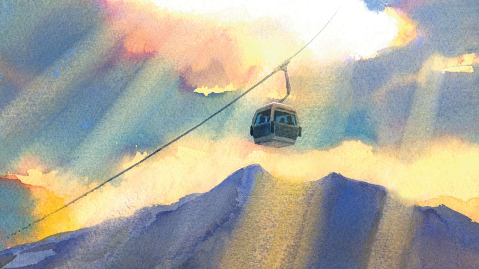 A ski gondola rises, with heavenly streams of light pouring down