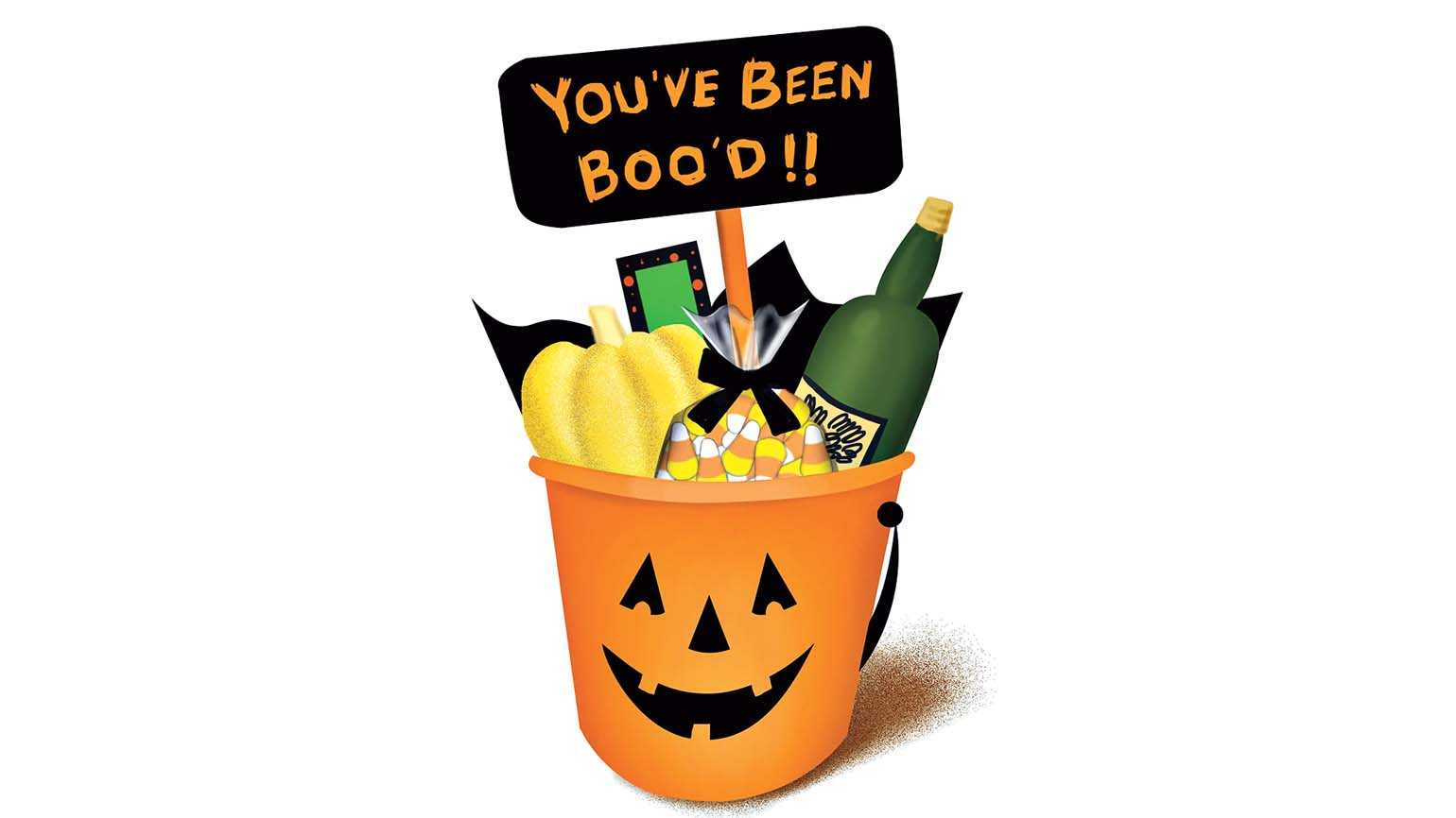 An illustration of a Halloween bucket filled with various goodies; Illustration by Coco Masuda