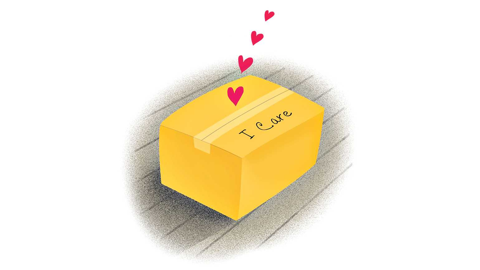 An illustration of a box that reads Care on top; Illustration by Coco Masuda