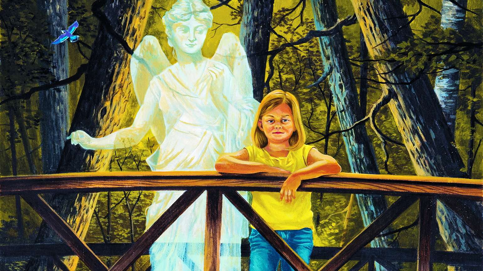 Young girl on a bridge with a sad expression as her guardian angel appears behind her
