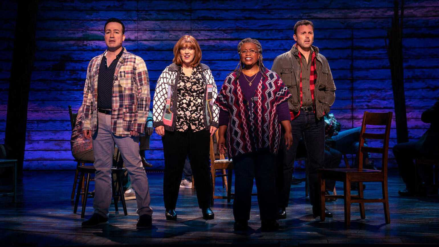 """Caesar Samayoa, Sharon Wheatley, Q. Smith and Tony LePage in """"Come From Away,"""" on Apple TV+."""
