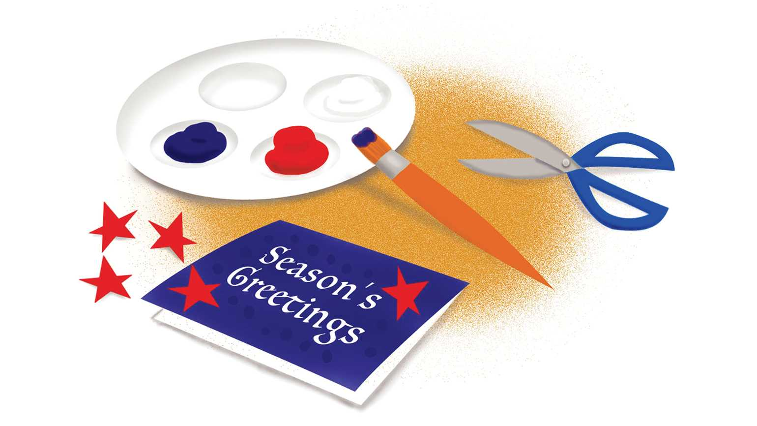 An artist's rendering of a patriotic Season's Greetings card.