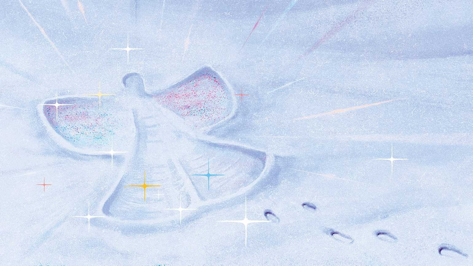 An artist's rendering of a snow angel; Illustration by Daniel Lievano