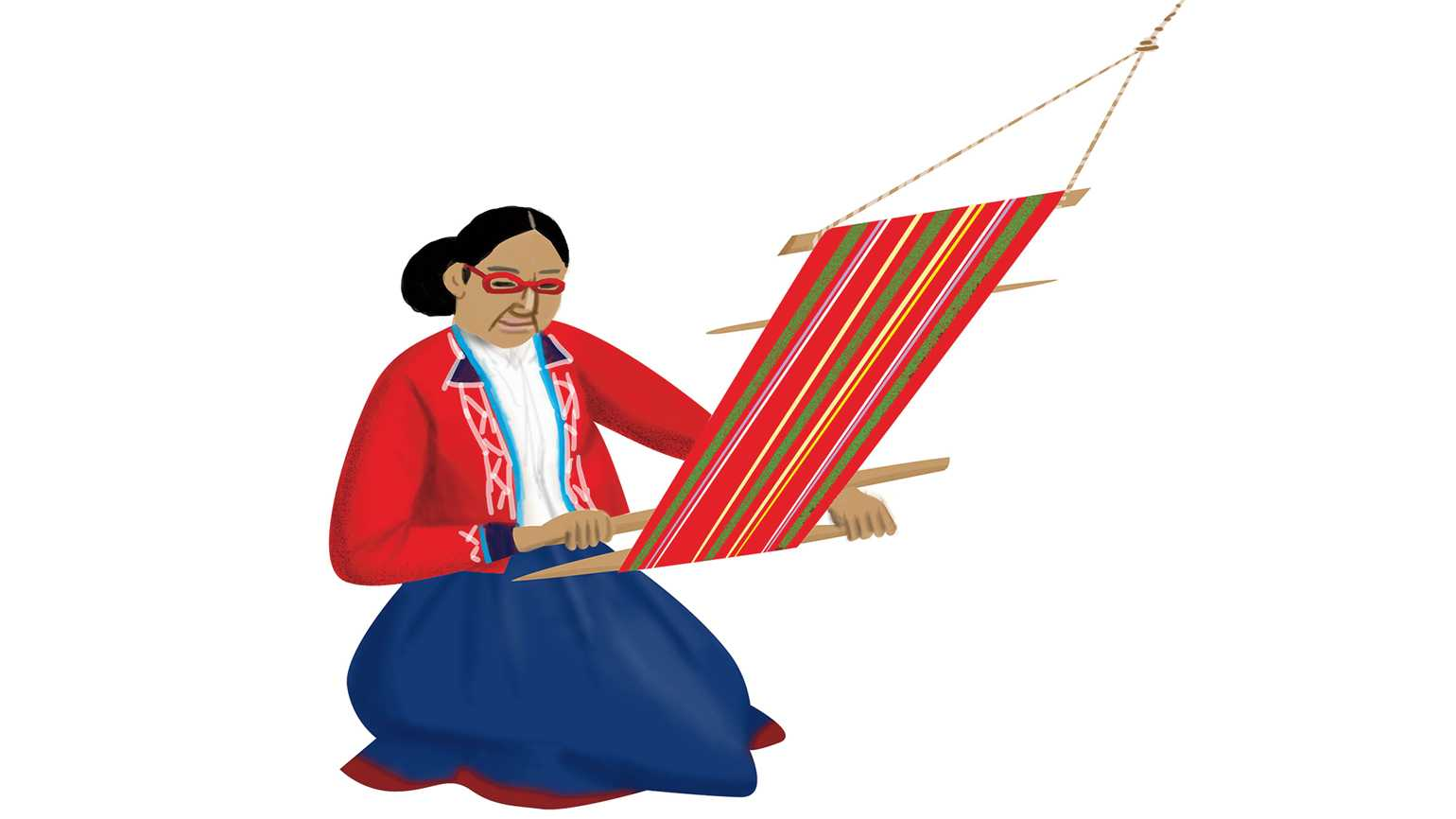 A Peruvian woman wearing glasses weaving with colorful yarn.