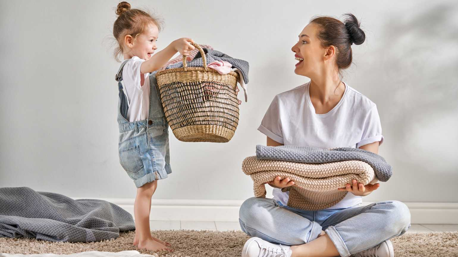 Mother and daughter decluttering; Getty Images