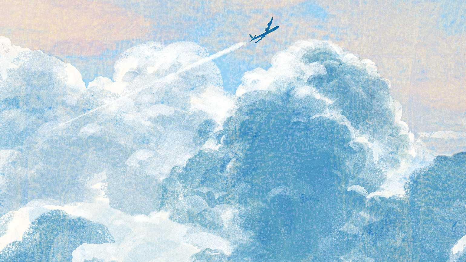 An illustration of a single airplane flying through the clouds; Illustration by Tatsuro Kiuchi
