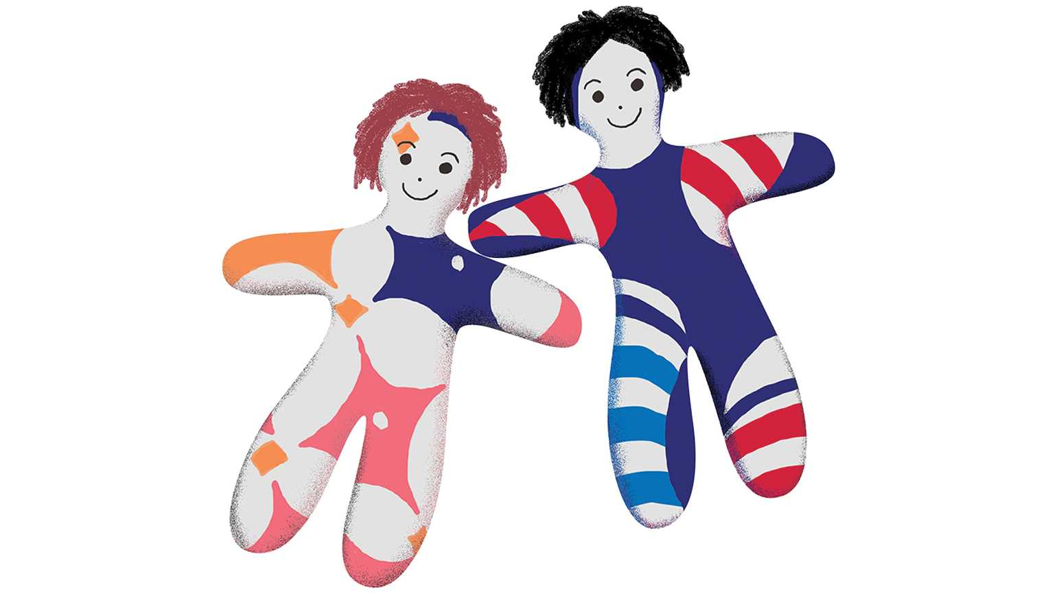 An illustration of a pair of colorful patterned dolls.
