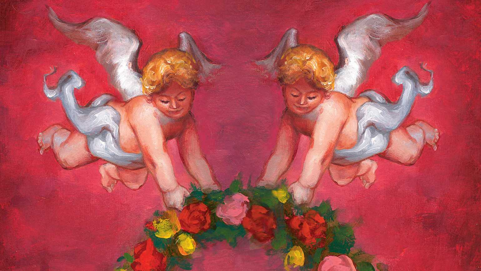 Easter wreath and two guardian angels