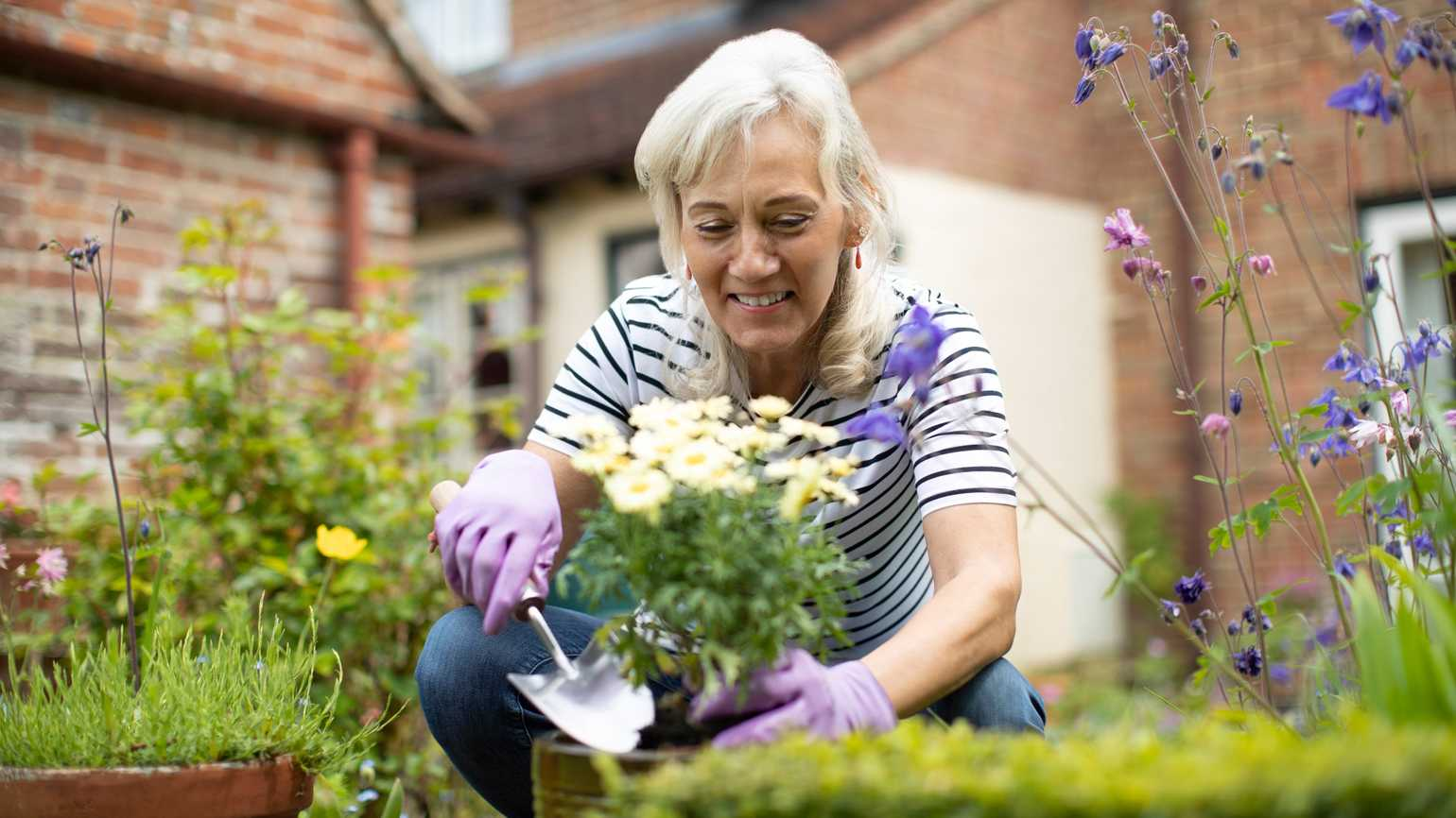 A woman gardening flowers outside.