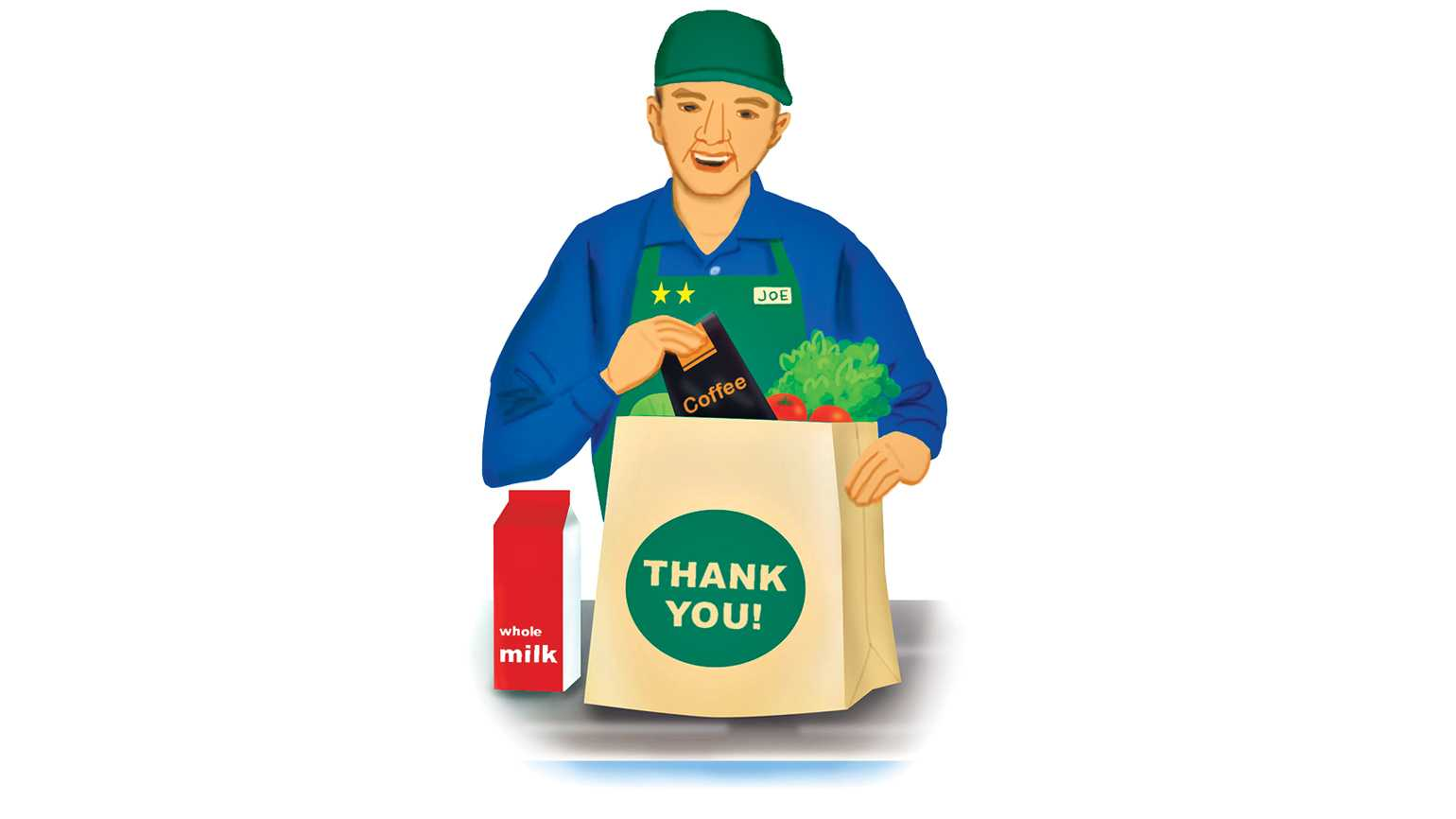 A grocery worker bagging items; Illustration by Coco Masuda