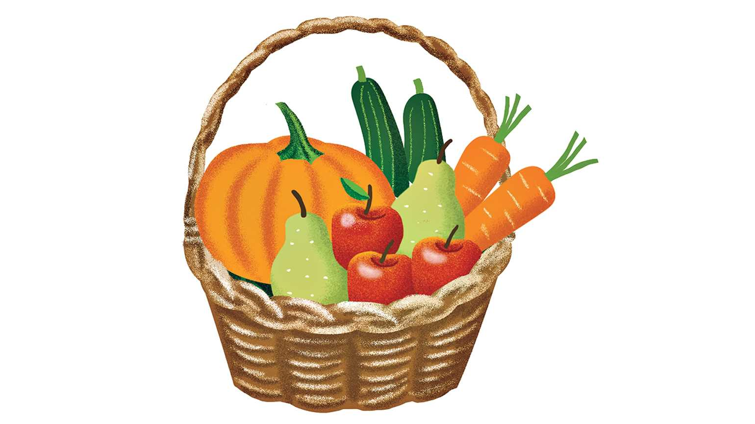 A basket of fall vegetables.