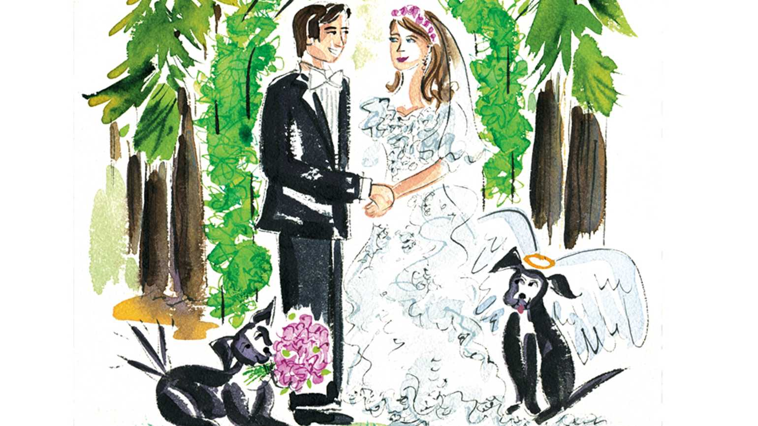 An artist's rendering of a couple getting married with black Labs at their feet