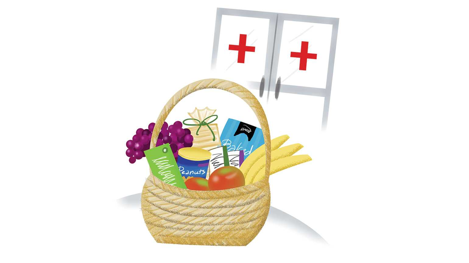 AN artist's rendering of a basket of snacks in a hospital.