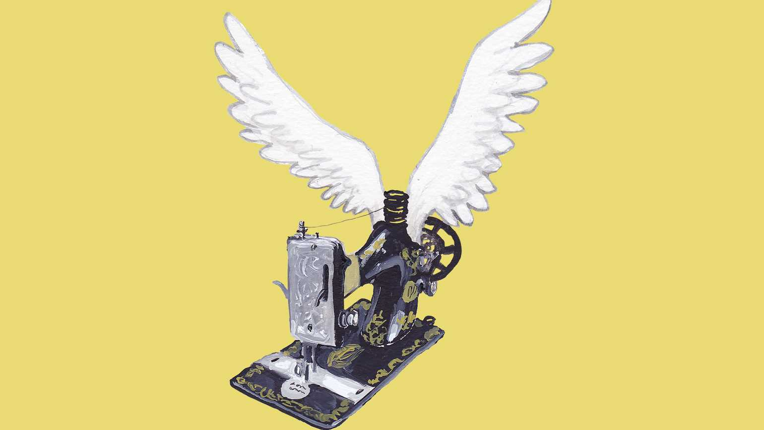 An artist's rendering of a vintage sewing machine with wings; Illustration by Dan Bransfield