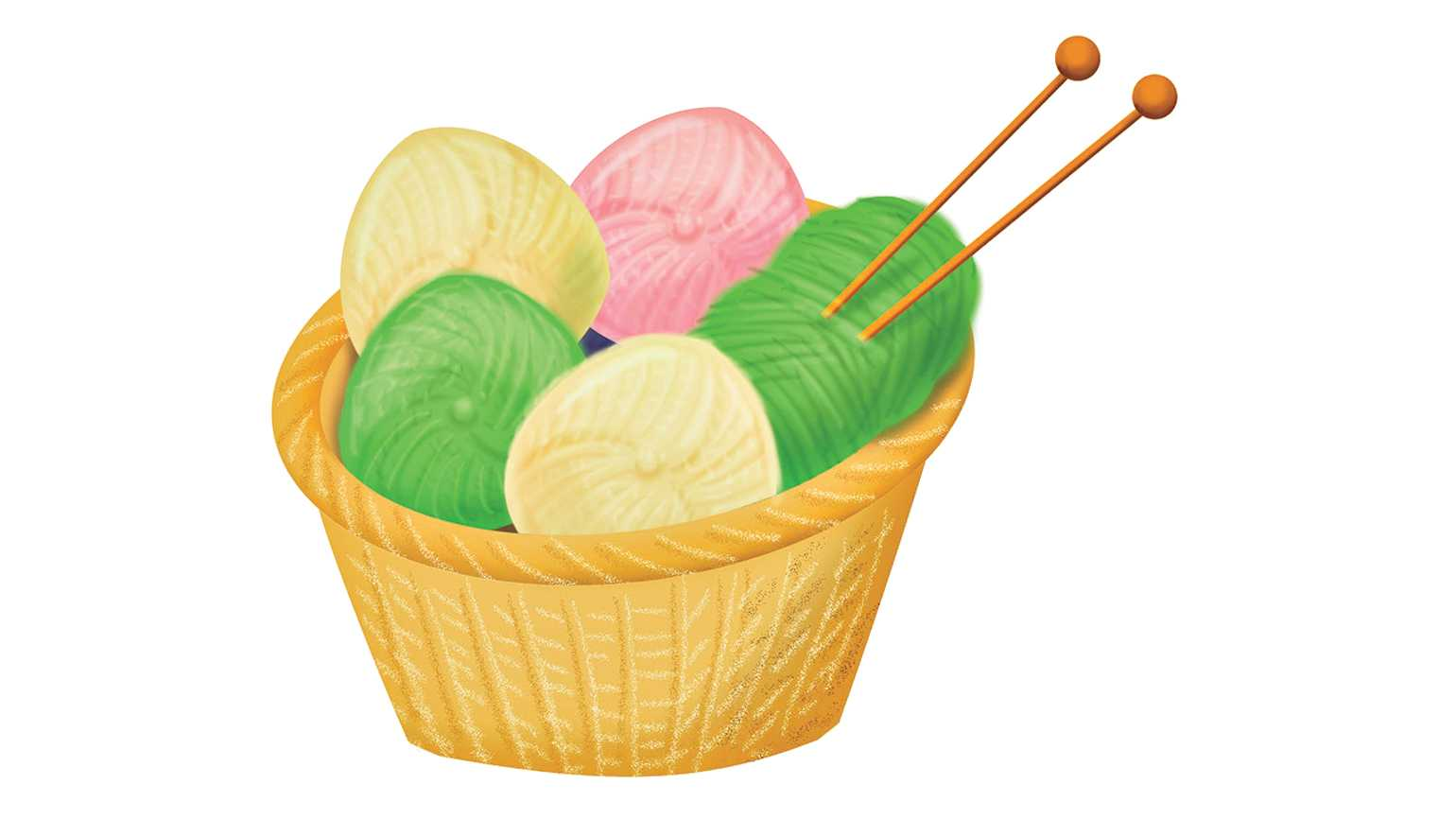 A basket of colorful yarn.