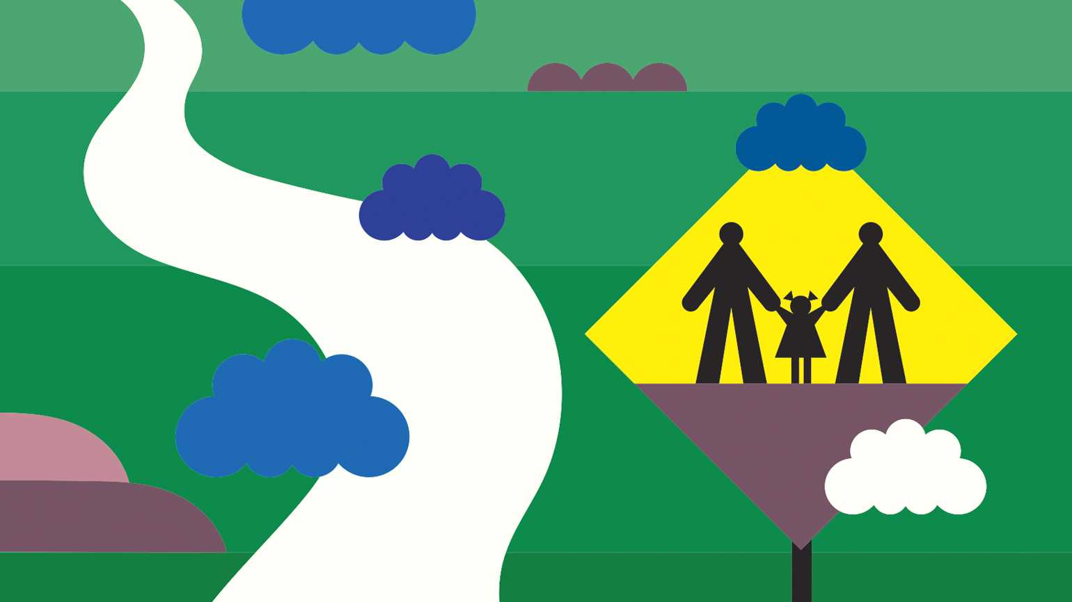 An artist's rendering of a family highway sign; Illustration by Asia Pietrzyk