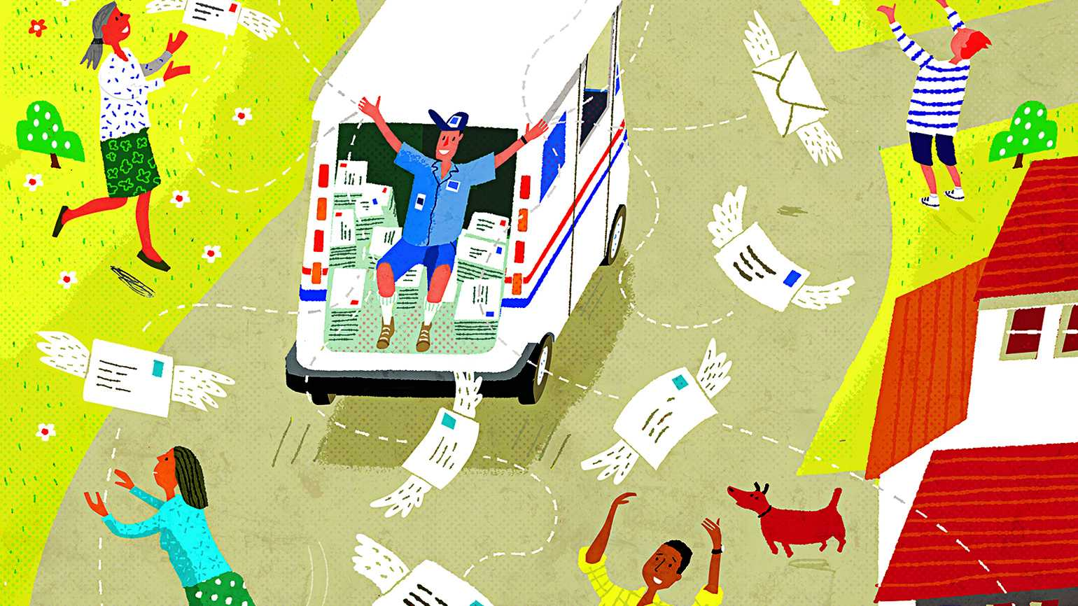 Illustration of a mailman and in a busy neighborhood