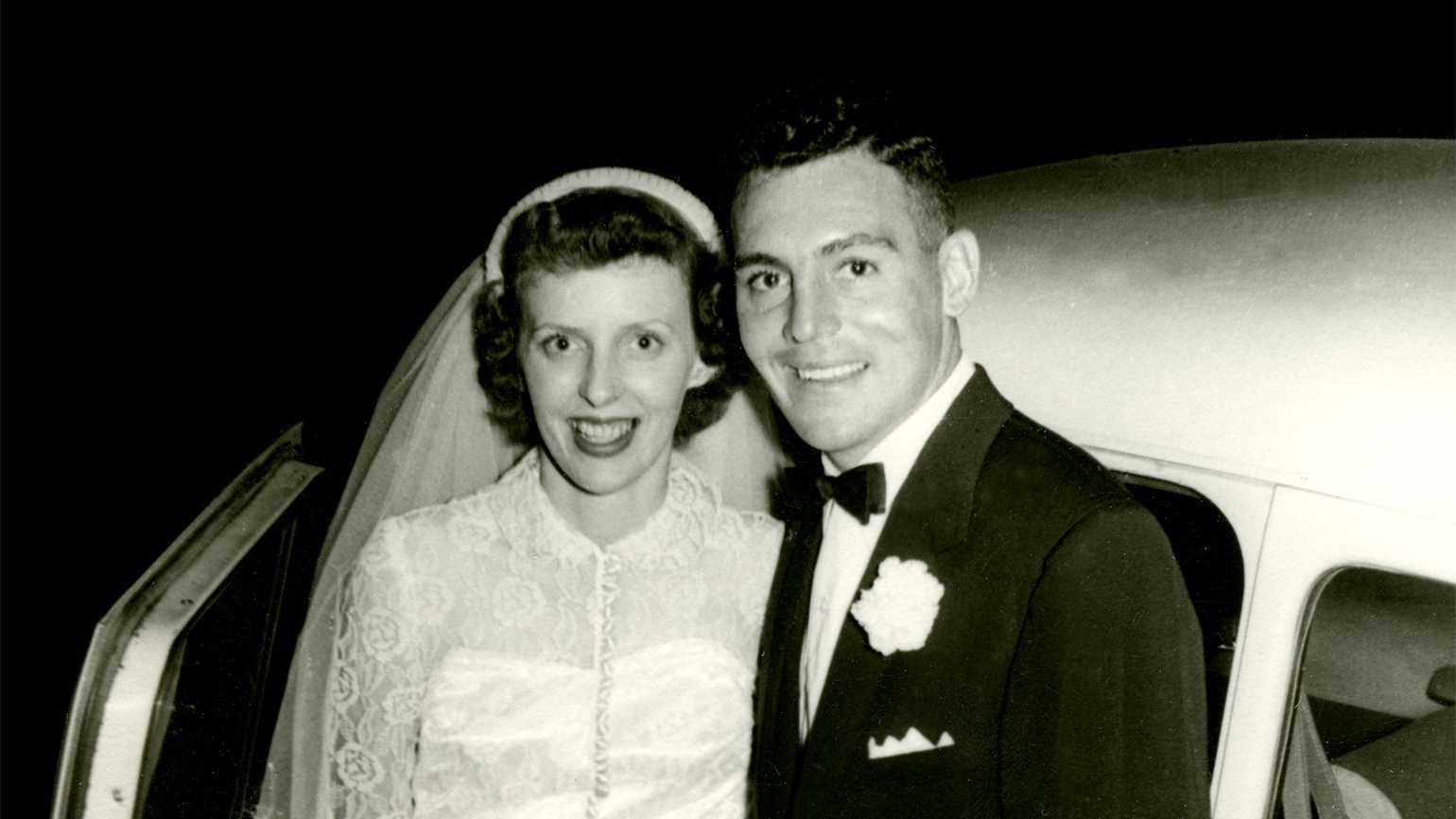 Karen and Lloyd Leveridge, on the evening of their wedding in 1954