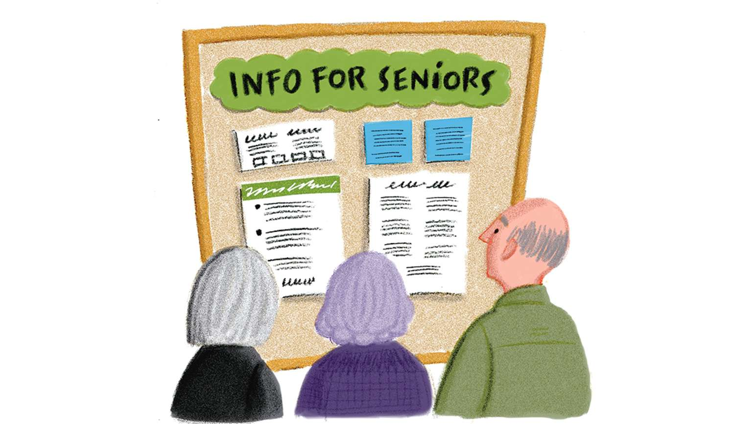 An artist's rendering of a trio of seniors perusing info on a bulletin board
