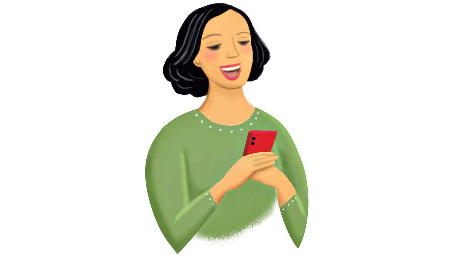 An illustration of a woman laughing at her cellphone; Illustration by Coco Masuda