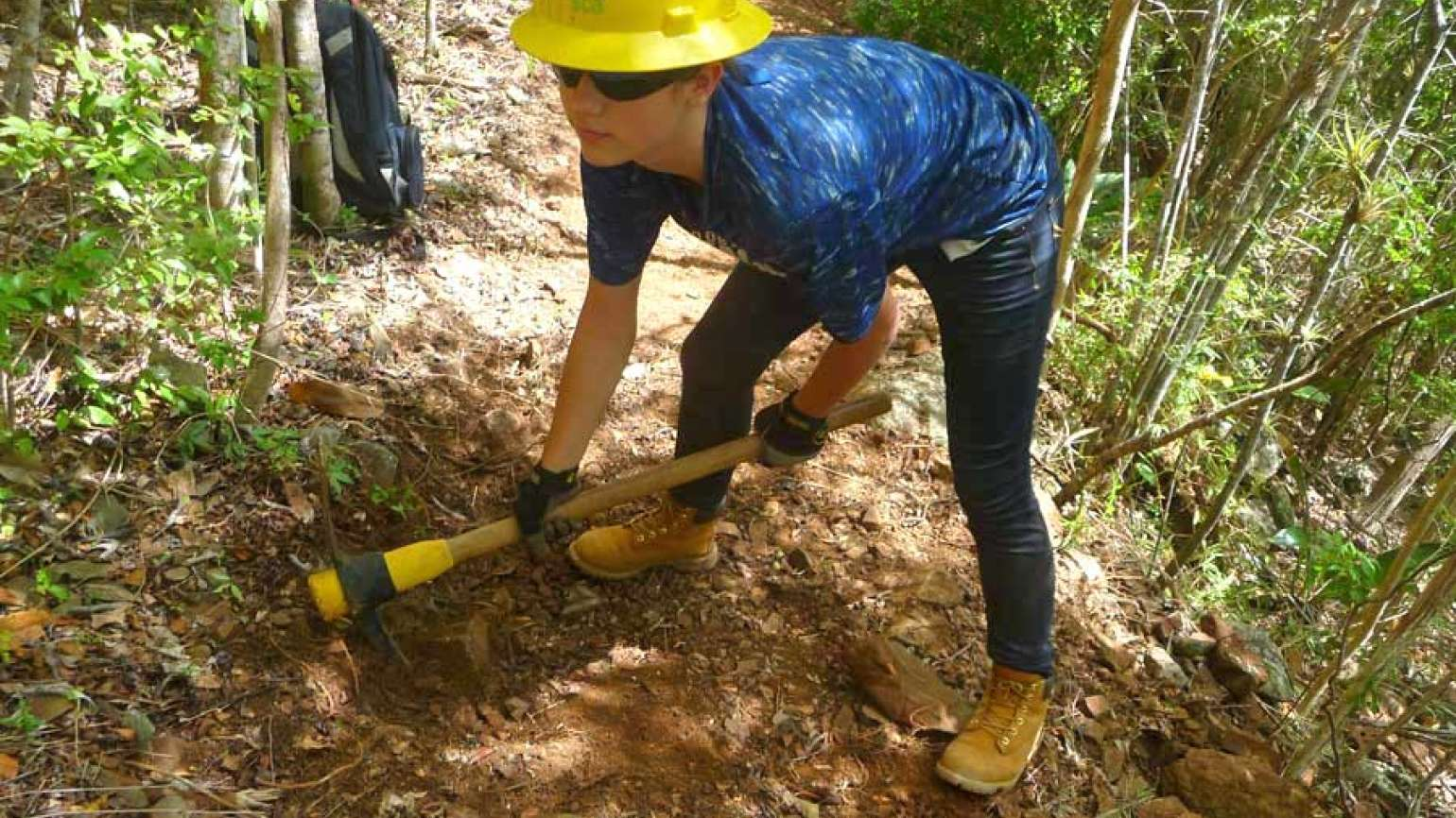 Guideposts: Lenore's daughter Kalle gets down to work on the trail.
