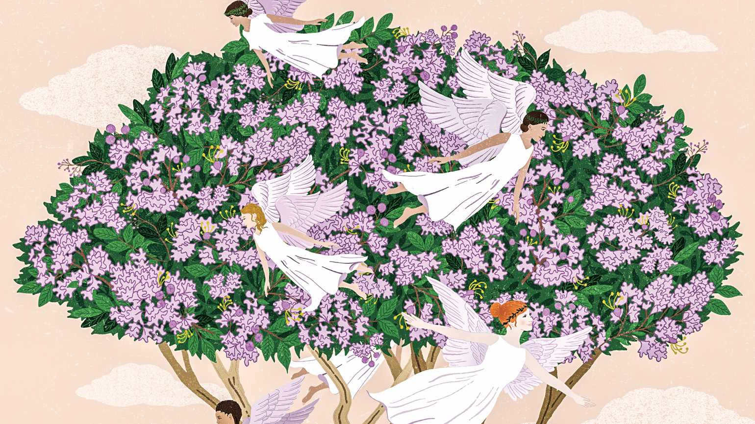 A crepe myrtle tree full of angels. Illustration by Dawn Cooper