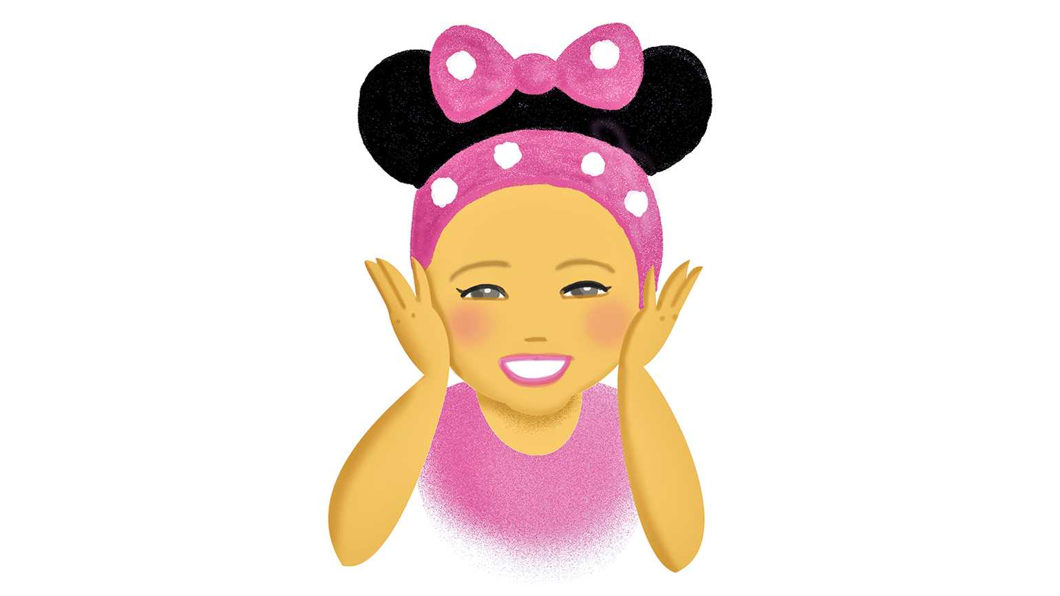 An illustration of a happy girl wearing mouse ears; Illustration by Coco Masuda