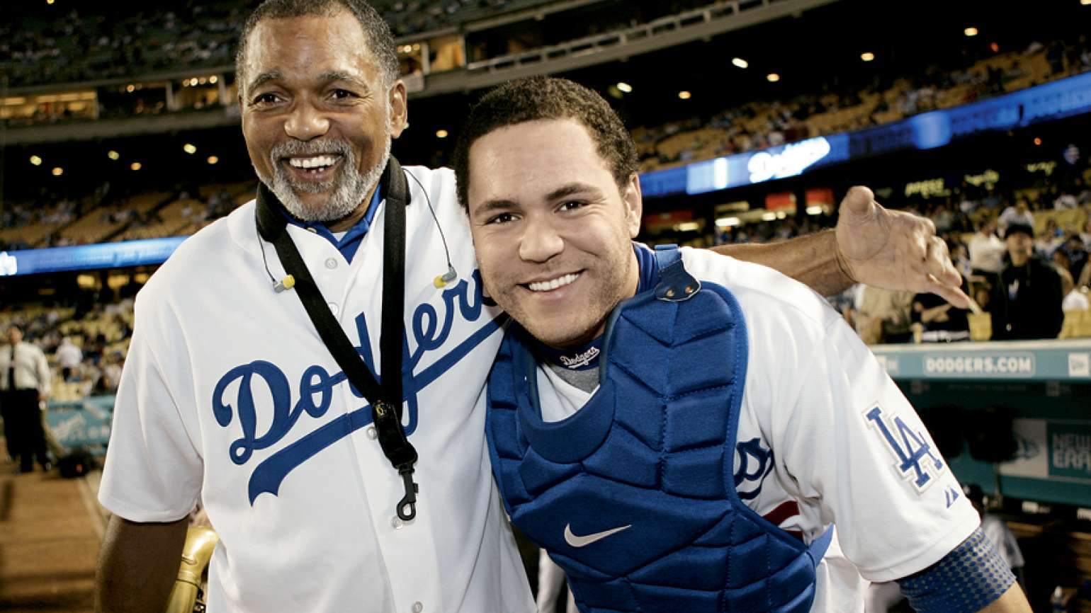 Russell Martin Jr., with his dad who played the national anthem at Dodger Stadium, Guideposts