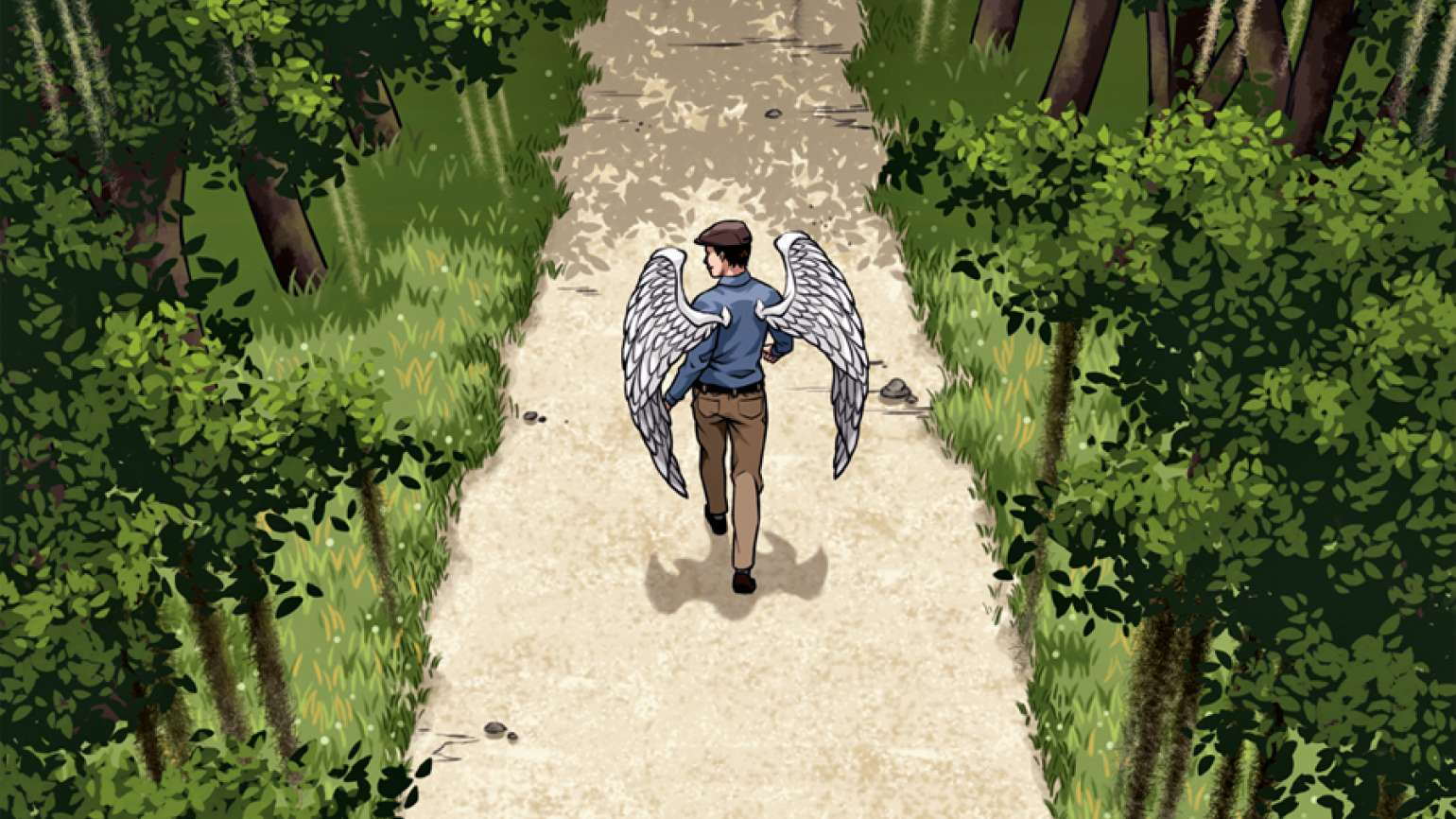 A young male angel walks along a wooded path.