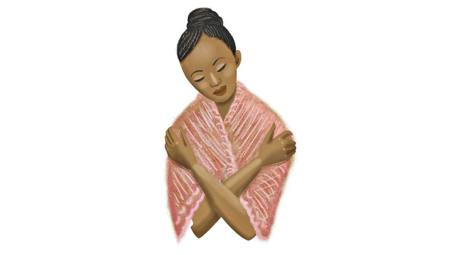 A woman finding comfort in a Serenity Shawl; Illustration by Coco Masuda