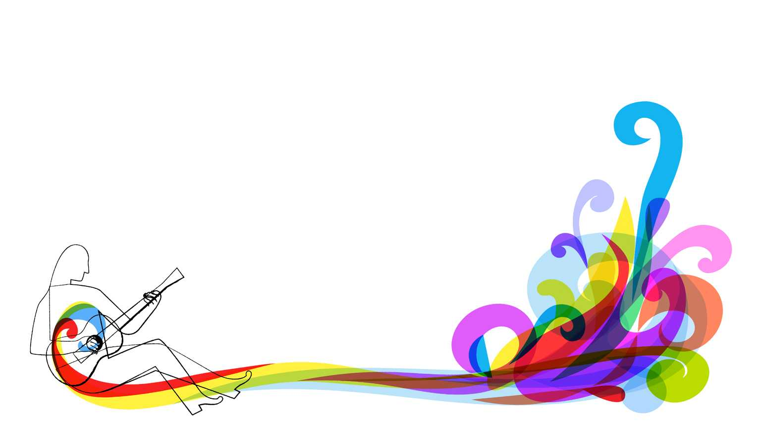 An artist's rendering of a man playing guitar with colorful waves representing the tune.