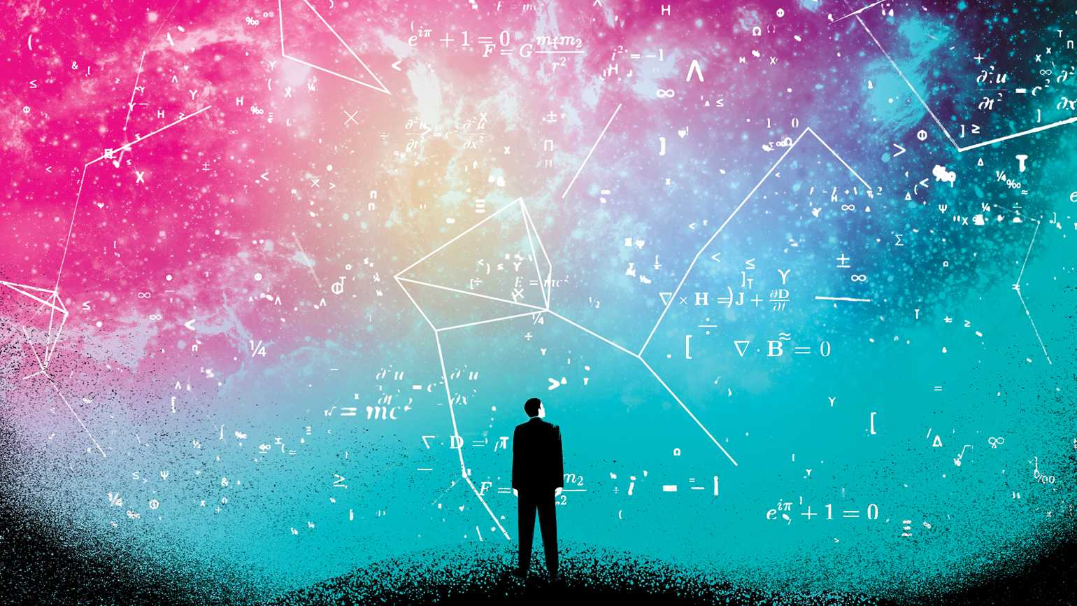 An illustration of a man looking up at a colorful sky with mathematical constellations.