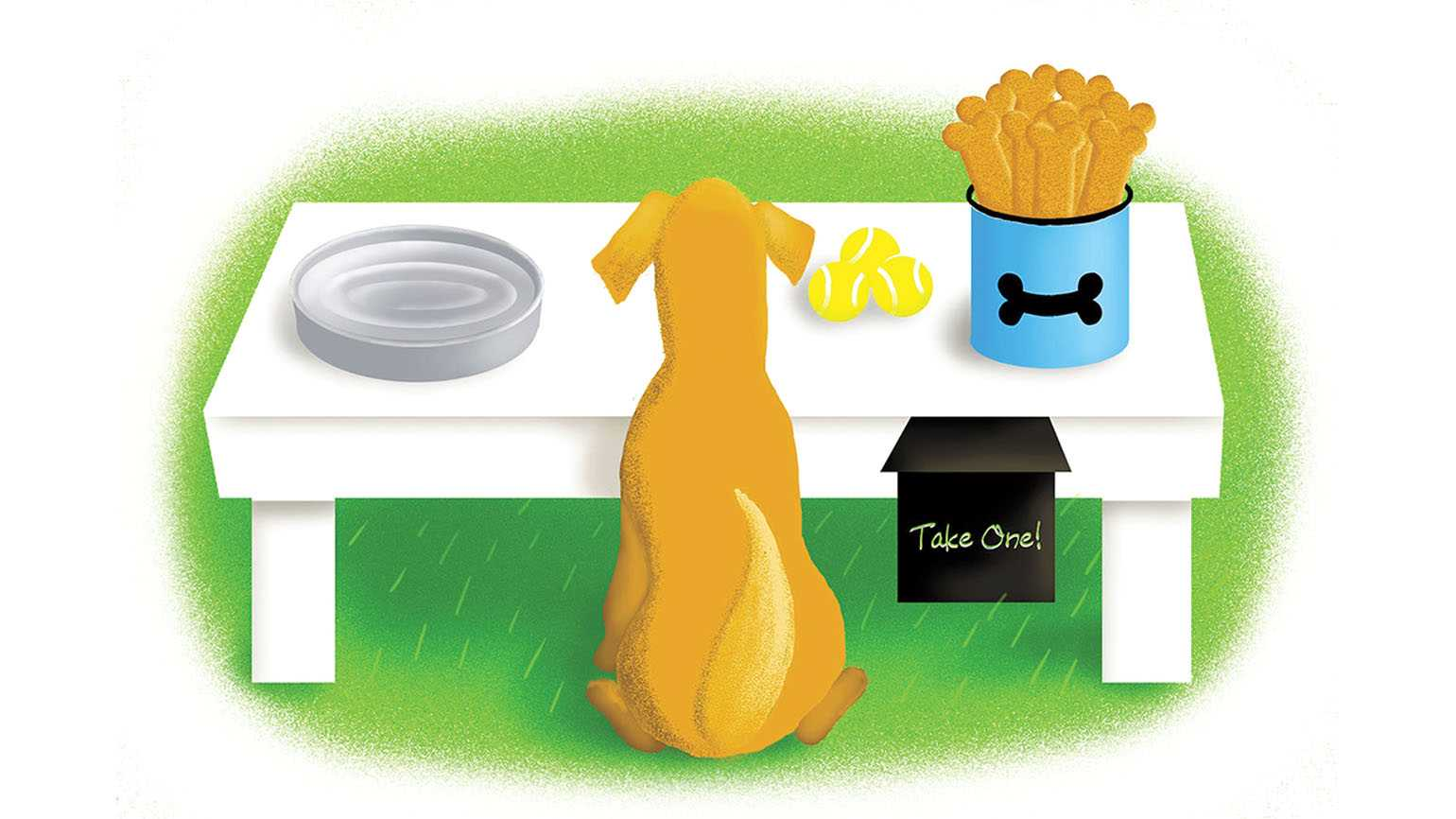 Illustration of a dog taking a break at the pit stop; Illustration by Coco Masuda