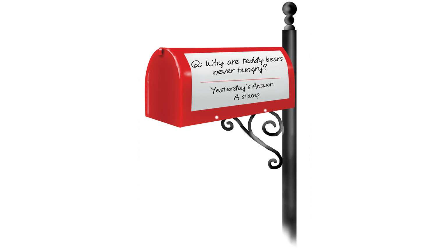 A mailbox with a riddle; Illustration by Coco Masuda