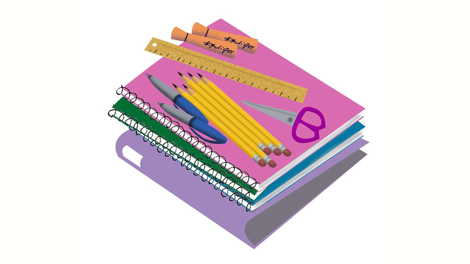An artist's rendering of a stack of school supplies